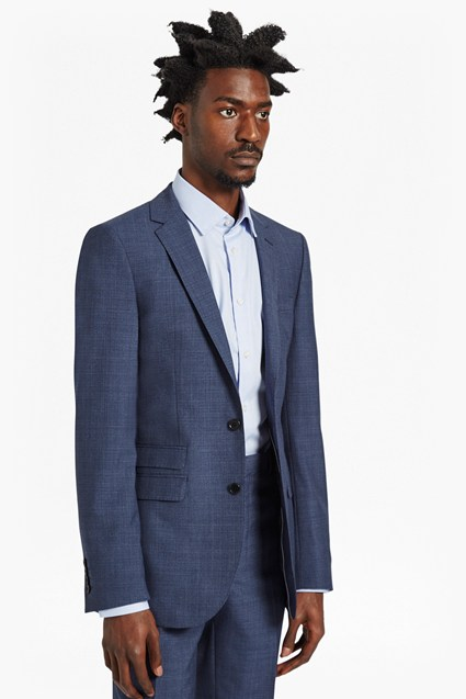 Textured Blue Suit Jacket