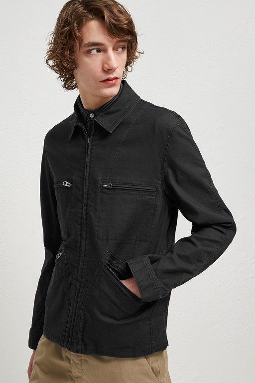 slub stretch twill field jacket