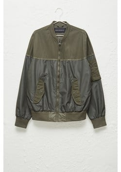 Patchwork Carbon Wax Bomber Jacket