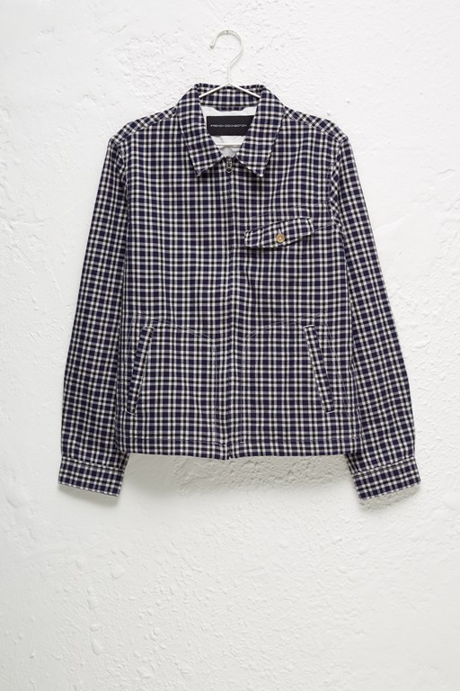 laundered oxford check harrington jacket