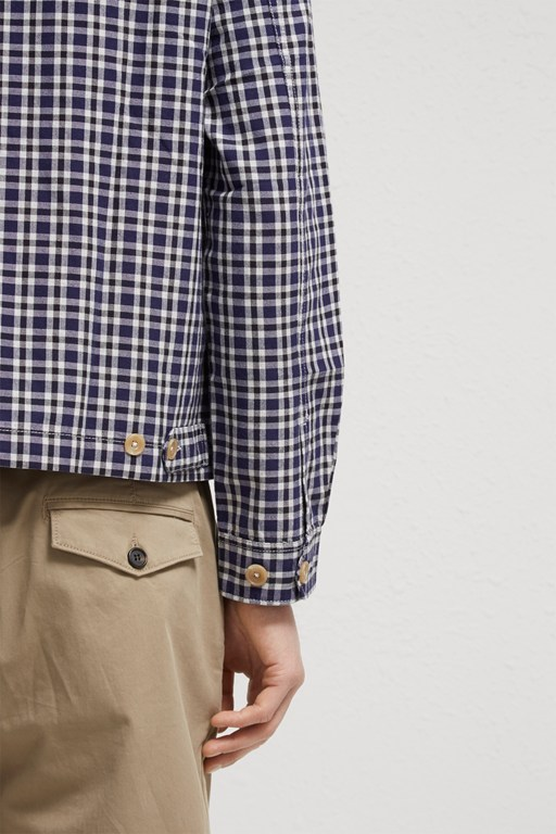 Complete the Look Laundered Oxford Check Harrington Jacket