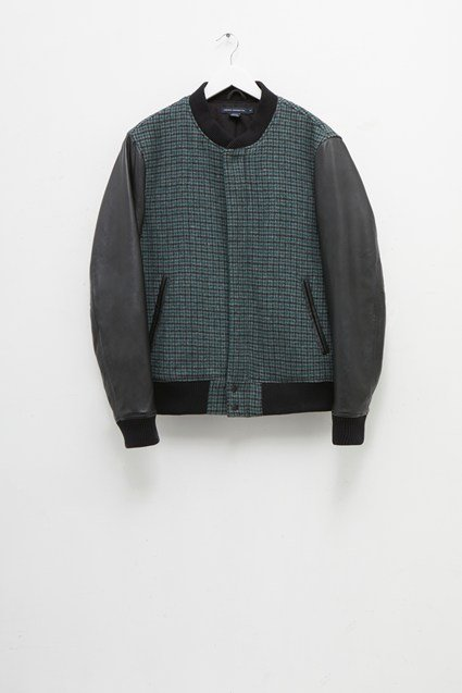 Houndstooth Wool and Leather Bomber Jacket