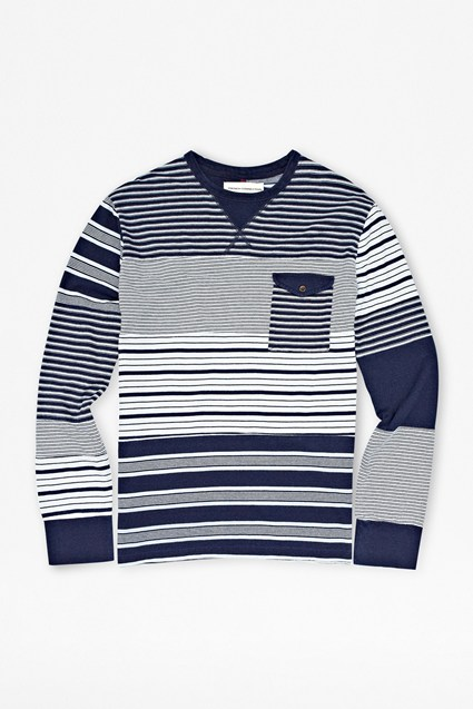 Indigo Cut-Up Striped T-Shirt