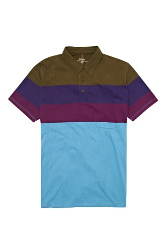 Glacier Stripe Collar Polo Shirt