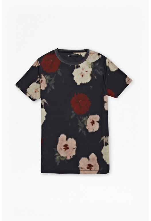Pixel Peonies Cotton T-Shirt