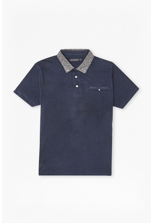 Micro Floral Collar Polo Shirt