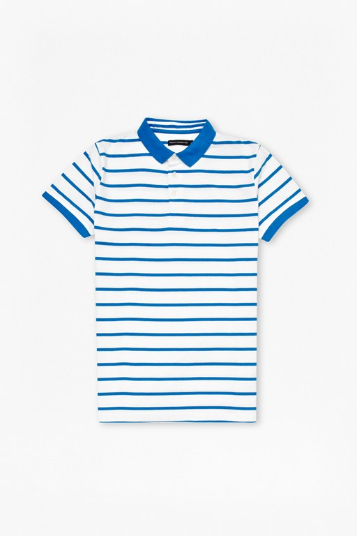 bleached simple stripe polo shirt