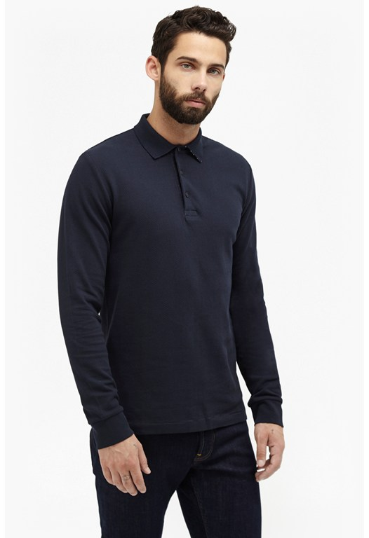 Ampthill Park Popcorn Long Sleeve Polo Shirt