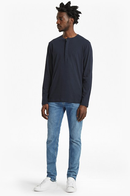Plain Henley Long Sleeve Top
