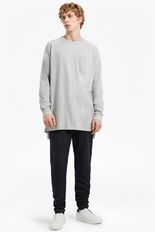 peached longline single jersey sweatshirt