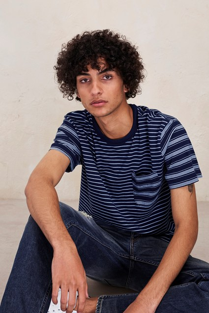 Block Patchwork Indigo Striped T-Shirt