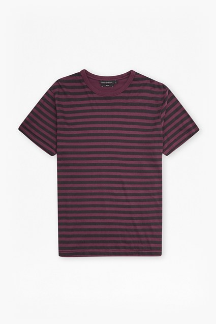 Garment Dye Stripe Crew Neck T Shirt