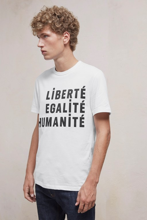 egalite slogan short sleeved cotton t-shirt