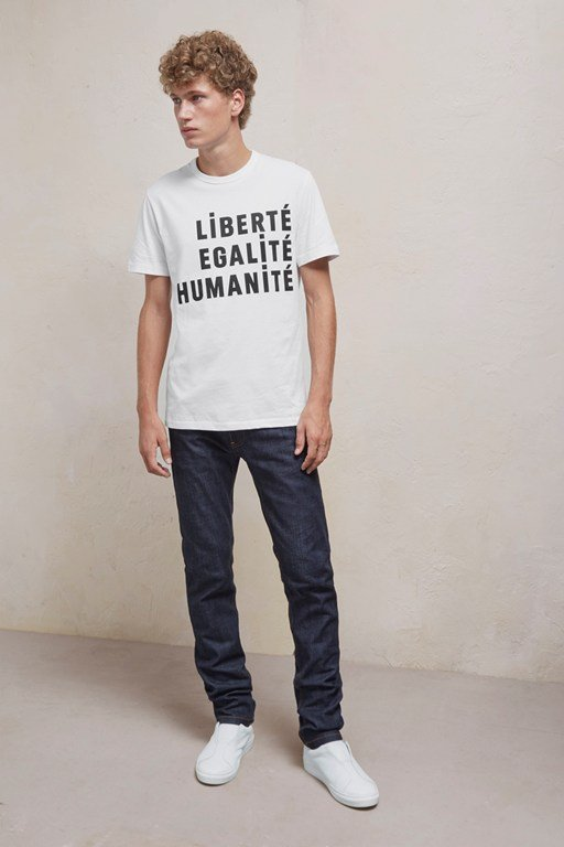 Complete the Look Egalite Slogan Short Sleeved Cotton T-Shirt