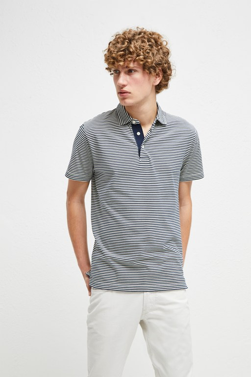 garment dye mini stripe polo shirt