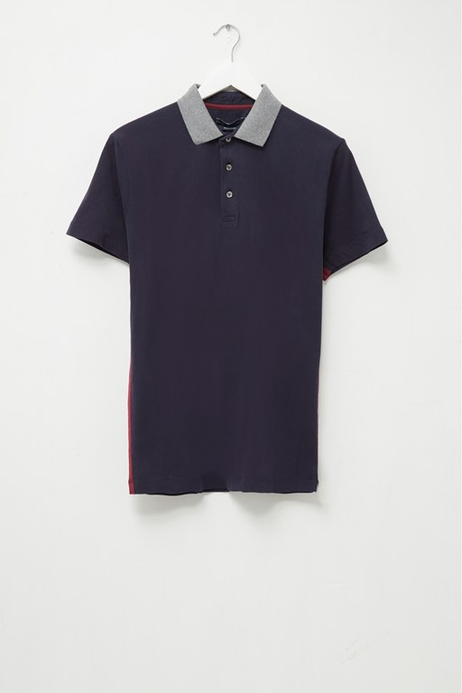 block side panel cotton polo shirt