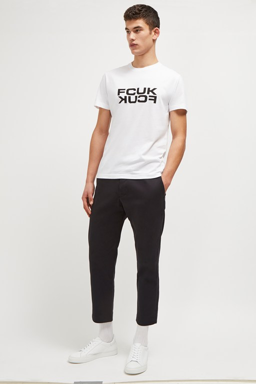 fcuk mirrored slogan t-shirt