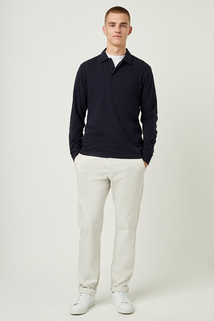 Plain Long Sleeve Polo Shirt