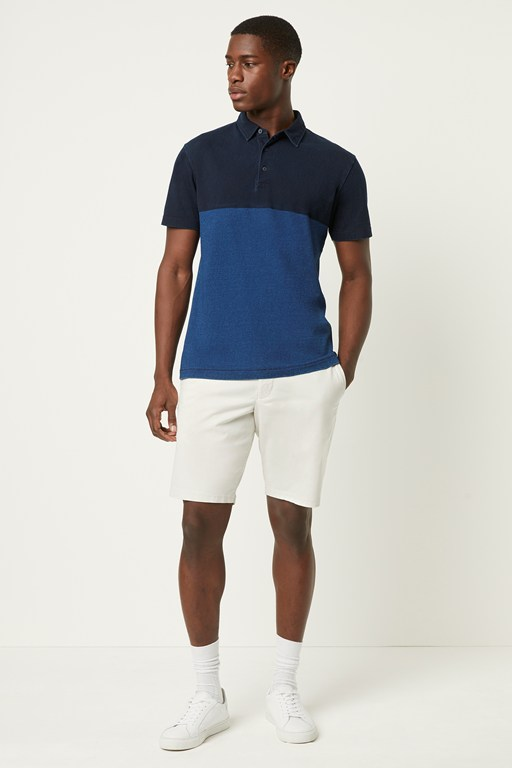 indigo block print polo shirt