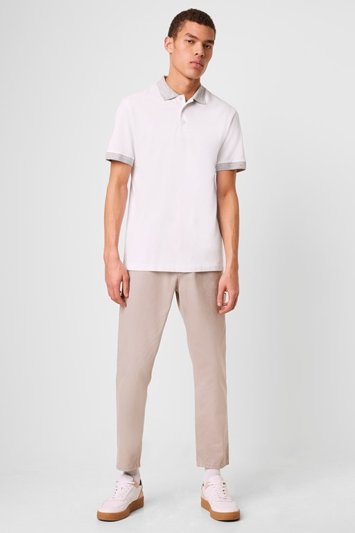 Complete the Look Contrast Melange Pique Polo Shirt