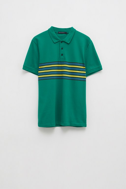 engineered retro stripe polo top
