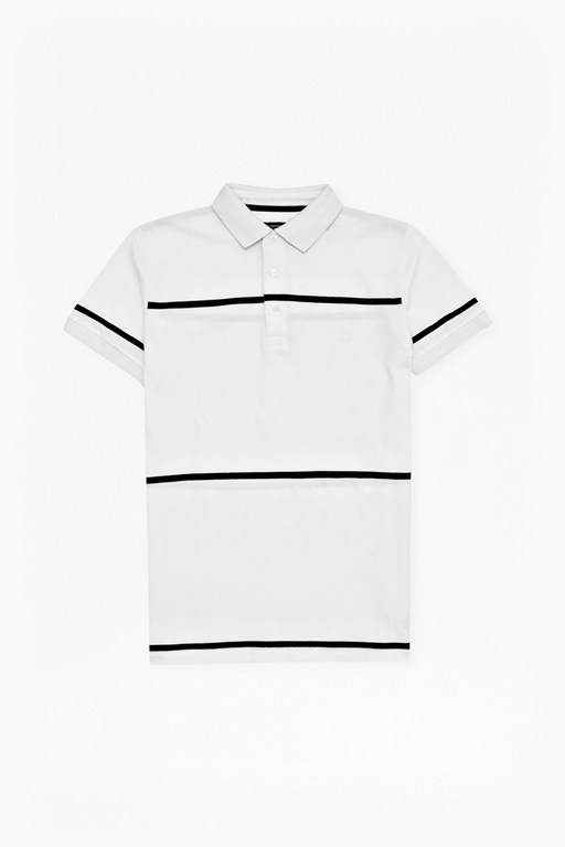 muscari stretch striped polo shirt