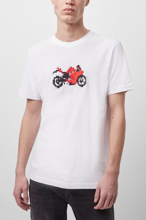 pixel motorbike embroidered t-shirt