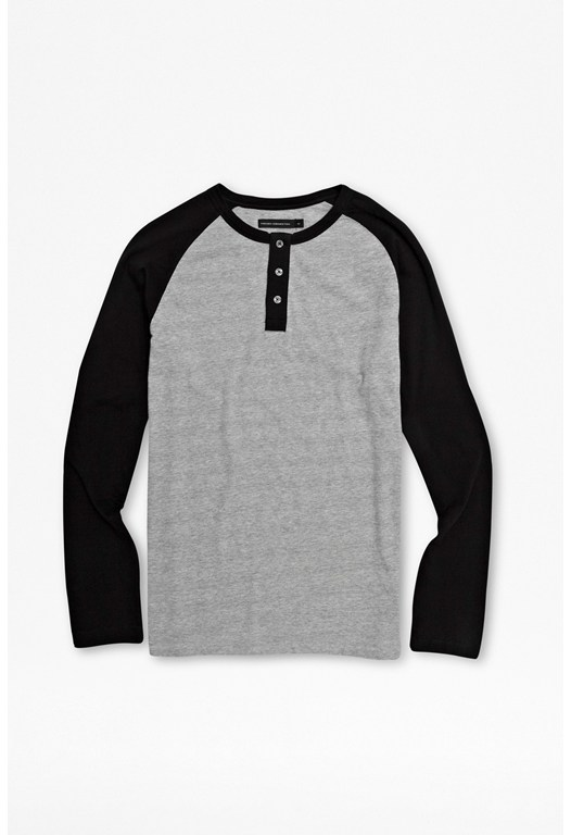 Button Neck Baseball Top