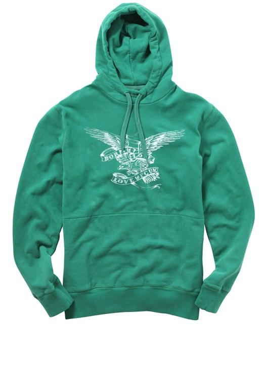 Jersey Print Sweat Hoody Black, Silver, Green