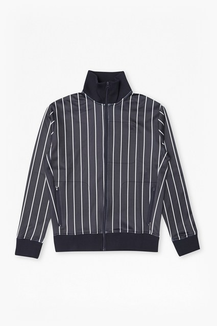 Dravid Striped Zip Thru Sweatshirt