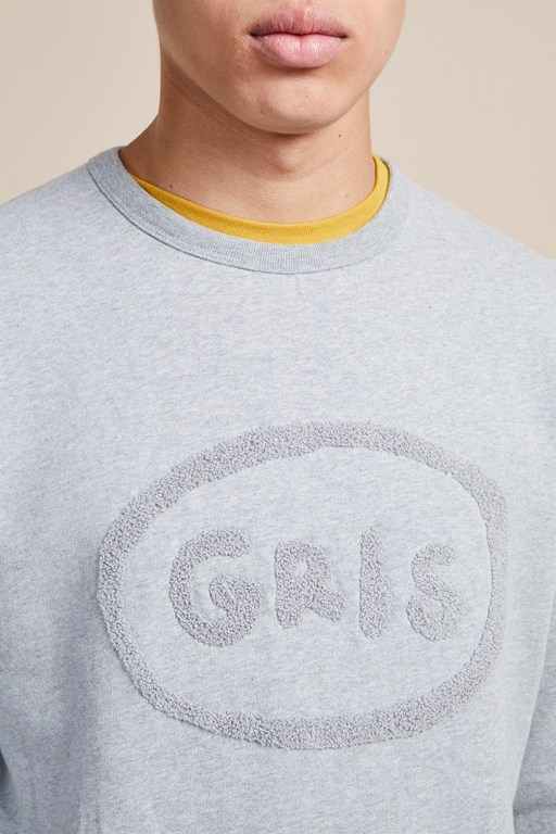 grey french slogan sweatshirt