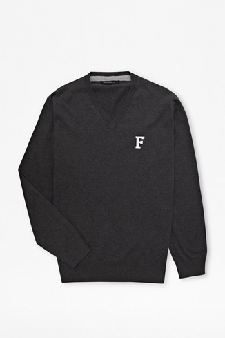 'F' V-neck jumper