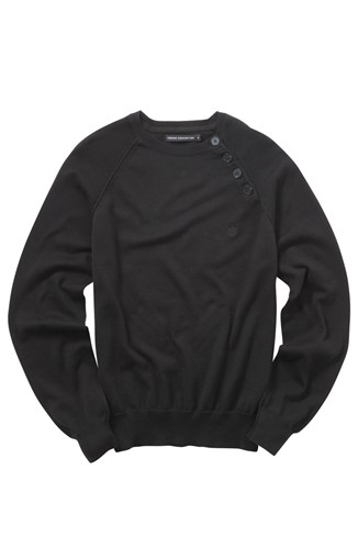 Cotton Knit Button Crew Neck Jumper Black, Grey