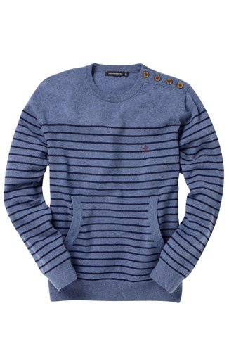 Lambswool Stripe Breton Crew Neck Jumper Blue, Grey