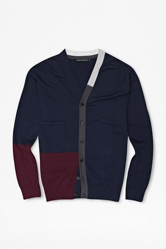 College Colour Block Cardigan