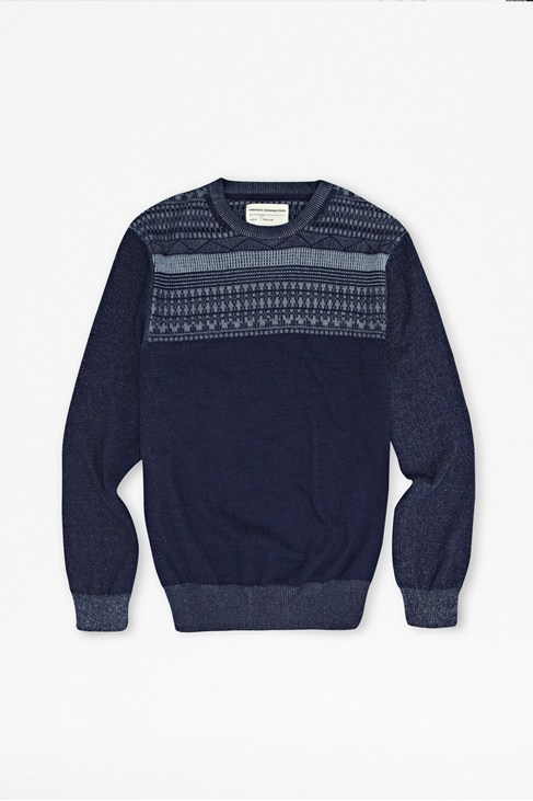 Tonal Plaited Indigo Jumper