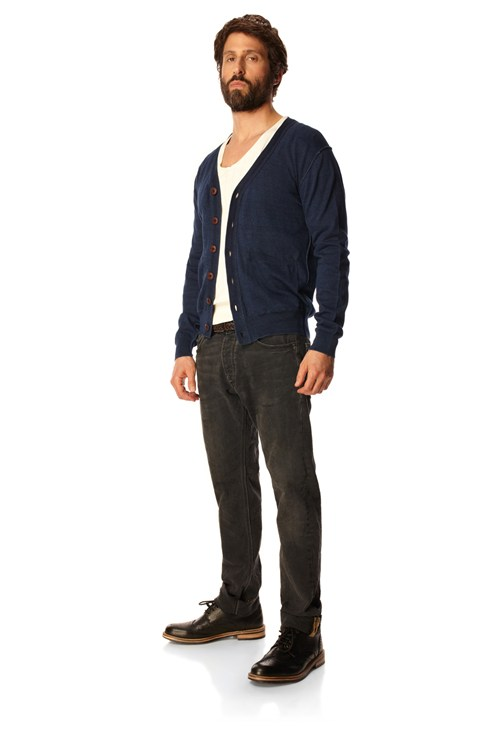 Flint Indigo Button Cardigan