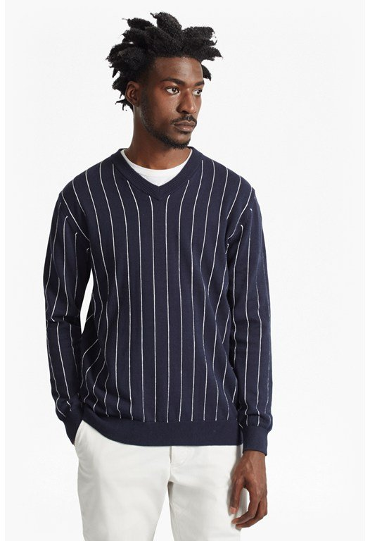 Dinesh Pinstripe Knitted V Neck Jumper