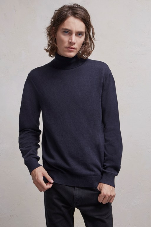 portrait wool roll neck jumper