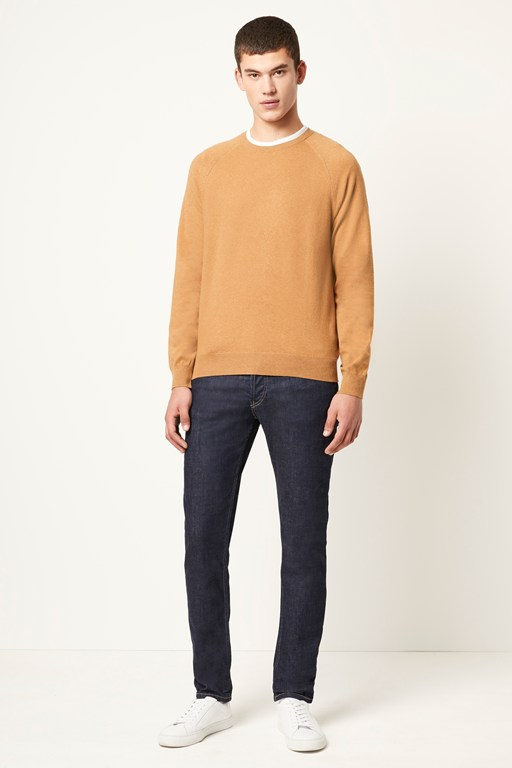 stretch cotton crew neck jumper