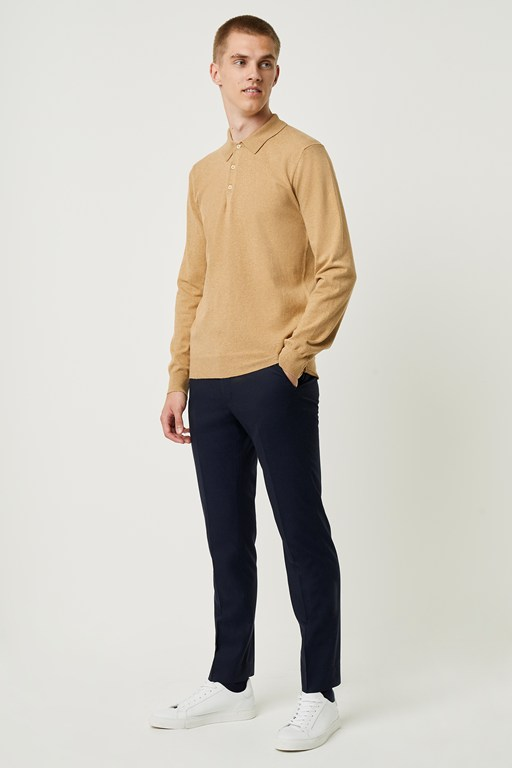 stretch cotton long sleeve polo shirt