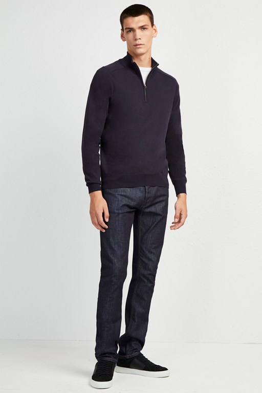 stretch cotton half-zip jumper
