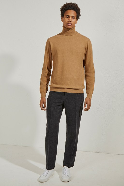 stretch cotton roll neck jumper