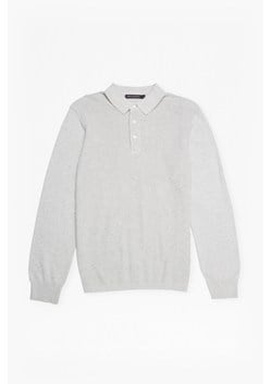 Textured Knit Long Sleeved Polo Shirt