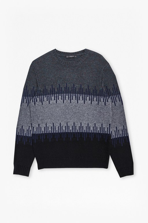 soundwave knit colour block jumper