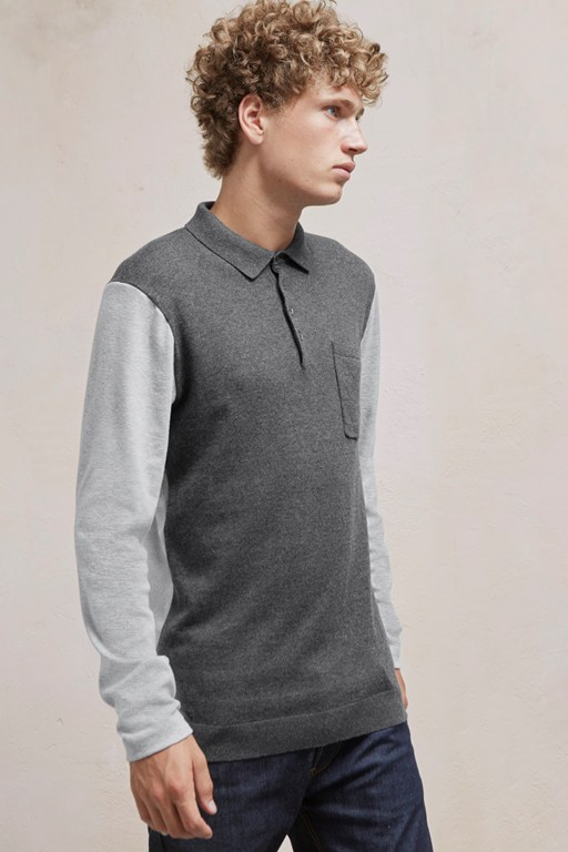 portrait hybrid long sleeved polo top