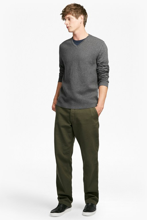 milano front cotton v neck jumper