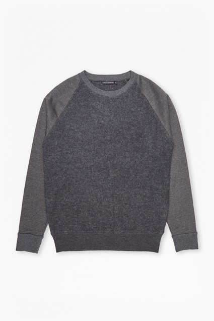 Boiled Sweat Knit Hybrid Crew Neck Jumper