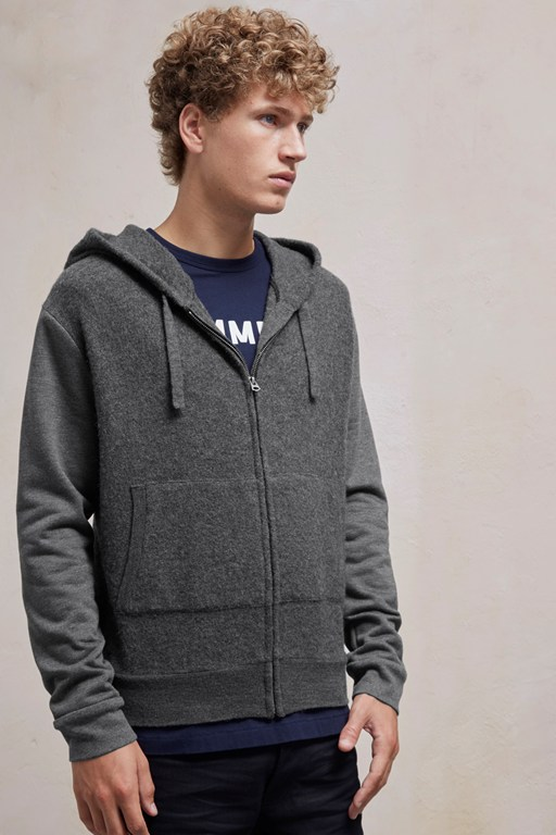 boiled sweat knit hybrid hoody sweatshirt