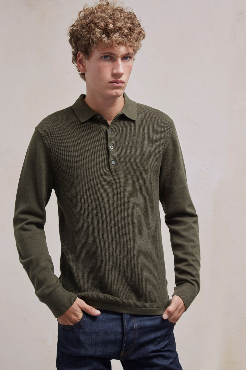 Textured Knit Long Sleeved Polo Shirt. loading images.